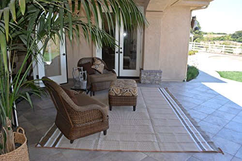 Patio Furniture Rug Beige/White Stripe Backyard Patio Mat Outdoor Reversible Rug (9' x 12')