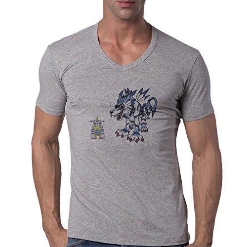 Digimon-Garurumon-Wolf-Gabumon-Two-XL-Hombres-V-Neck-T-Shirt