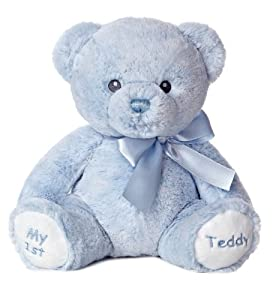 "Aurora World Baby My 1st Teddy Bear Plush, Blue, 12"" Tall"