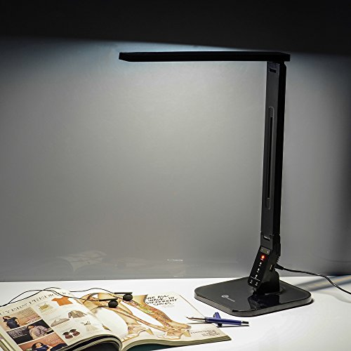 TaoTronics Elune TT-DL01 Dimmable LED Desk Lamp 5-Level Dimmer,  Touch-Sensitive Control Panel, 1-Hour Auto Timer, 5V/1A USB Charging Port -  Piano Black ... - TaoTronics Elune TT-DL01 Dimmable LED Desk Lamp 5-Level Dimmer