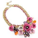 Modetrend damen bling-bling Schmuck Halskette mit lila und orangen Blumen Anhaengern statement Schmuck
