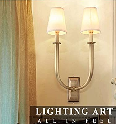 WL&F Copper American Wall Lamp Retro Yuan Tian Pure Copper Simple Mirror Lamp Bedroom Bed Living Room The Aisle Lamps