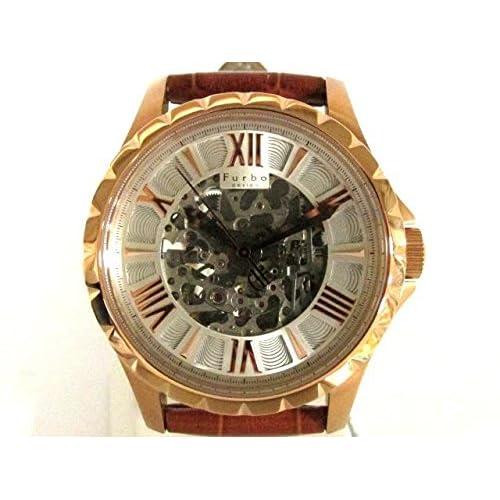 [フルボ] Furbo design 両面スケルトン 腕時計 ウォッチ レザーベルト×ピンクゴールドメッキ F5021PSIBR [中古]