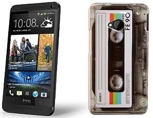 Perfect Case ® PREMIUM Hard Case im Retro Tape Kassetten transparent Design für HTC One Smartphone / HKT® ONE