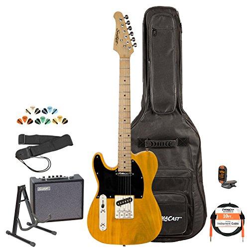 Sawtooth St-Et-Lh-Bsb-Kit-3 Left Handed Electric Guitar, Butterscotch With Black Pickguard
