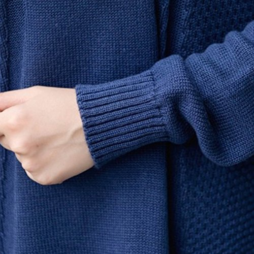 Little Hand Womens Long Sleeve Solid Sweater Loose Casual Pullover Sweater Dark Blue