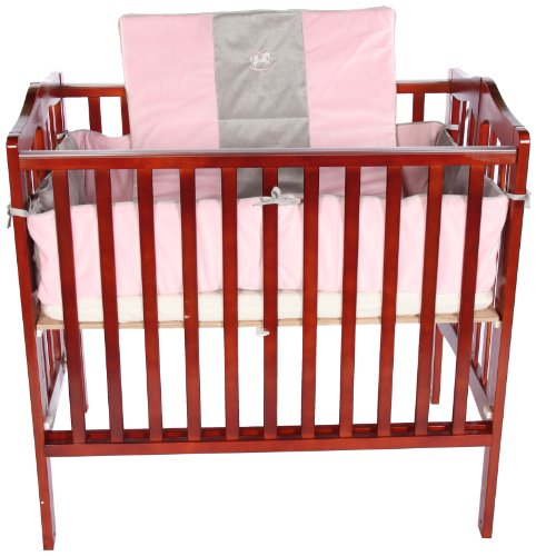 Baby Doll Bedding Cozy Carousel Minky with Embroidery Port-a-Crib Bedding Set, Pink