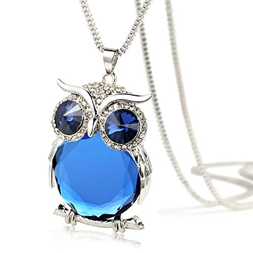 [The Night Guardians Long Sweater Chain Owl Shape Austrian Crystal Pendant Necklace for Woman