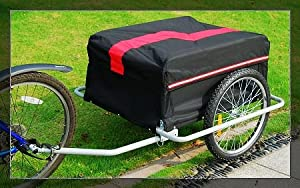 Aosom Elite II Bike Cargo / Luggage Trailer w/ Removable Cover - Black /