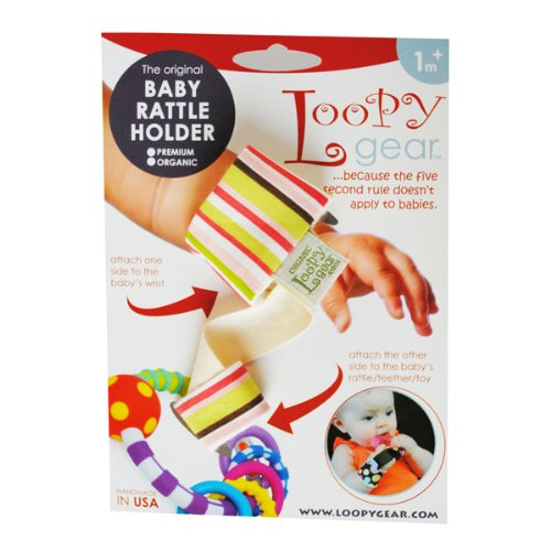 Baby Rattle Holder Pink Stripes Loopy