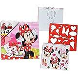 XL Malbuch / Malblock - mit Schablonen + Sticker Aufkleber + Buntpapier - Disney Minnie Mouse - Malvorlagen zum Ausmalen Malspaß - für Mädchen Kinder Maus / Malbücher