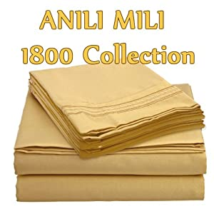 ANILI MILI 1800 Collection Affordable 4 pc Bed Sheet Set - Queen Size, Camel