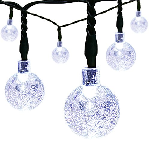 Solar Christmas String Lights,easyDecor 30 LED Ball 21ft White 8Mode Waterproof Decorative Globe for Thanksgiving,Indoor,Outdoor,Party,Wedding,Patio,Garden Decoration,Holiday Decor,Xmas Tree,Bistro (Round Led Camper Light compare prices)