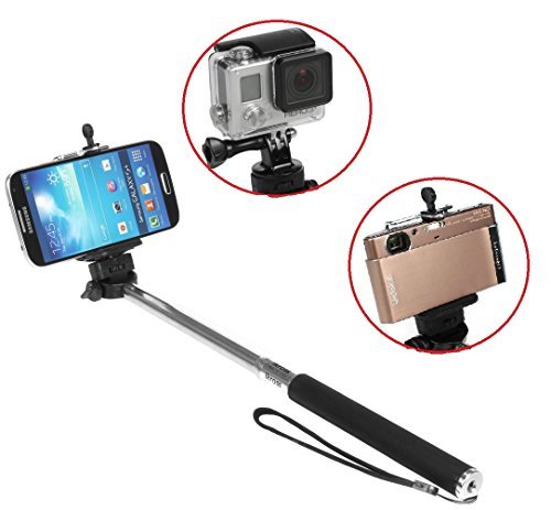 Ikross Monopod Selfie Handheld Extendable Stick Pole With Mount Holder And Tripod Adapter For Gopro Hero 1 2 3 3+ 4 Hero4, Iphone 6 6 Plus, Smartphone, Window Phone, Compact Digital Camera
