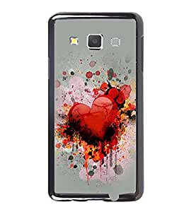 Fuson Premium 2D Back Case Cover Loving Heart With Blue Background Degined For Samsung Galaxy A3::Samsung Galaxy A3 A300F