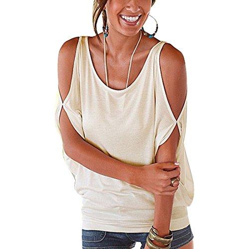 Bellezza Donna Cotone T-shirt Senza Spalline Camicia Maniche Corte Maglietta Ragazza Tops Estate