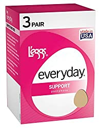 Nude Leggs Control Top Support Panty Hose 3 Pair Pack - Size A