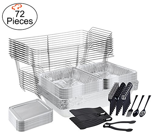 TigerChef 0026-CATERSET Catering Set Serving Dishes for Parties Includes Chafer Pans Set and Disposable Serving Utensils, Spoons and Tongs, Complete Party Serving Supplies (Pack of 72) (Buffet Serving Pans compare prices)