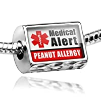 "Neonblond Beads Medical Alert Red ""Peanut Allergy"" - Fits Pandora Charm Bracelet from NEONBLOND Jewelry & Accessories"
