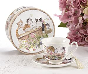 Porcelain Tea Cup and Saucer in Gift Box - Cats by Delton