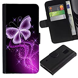 For Samsung Galaxy S5 V SM-G900,S-type® Butterfly Glitter Glittering Black Neon Purple - Drawing PU Leather Wallet Style Pouch Protective Skin Case