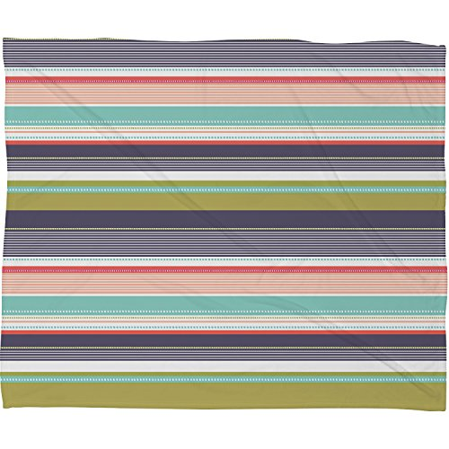 "DENY Designs Wendy Kendall Fleece Throw Blanket, Multi Stripe, Medium 60"" X 50"""
