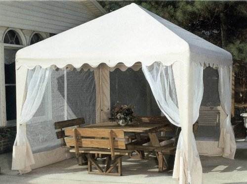 10-Foot Square Gazebo Cover in Almond with Netting picture