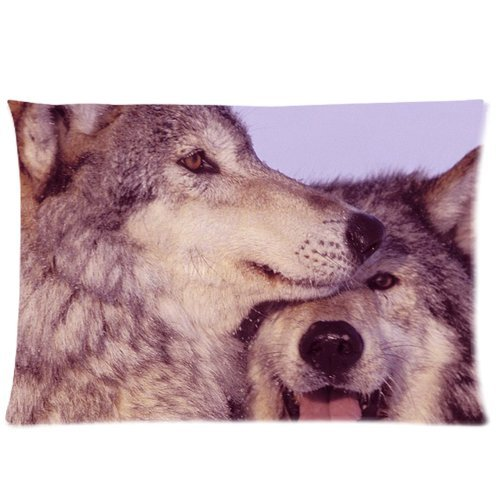 Animal Couple Wolves Cuddle Together Custom Zippered Bed Pillow Cases 20X30 (Twin Sides) front-989318