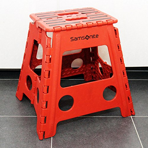 Samsonite Tall Folding Step Stool Red Black Hardware