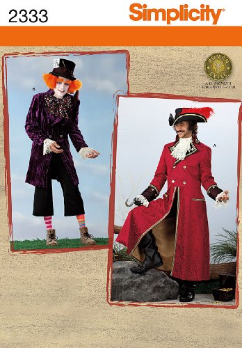 Simplicity 2333 Sew Pattern MEN'S COSTUME ~ Pirate , Mad Hatter - Size XS, S, M