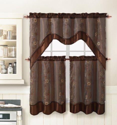 3 Piece Kitchen Window Curtain Set With Flower Embroidered: 3 Piece Kitchen Window Curtain Treatment Set: 2 Layer