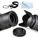 55MM Reversible Flower Lens Hood + Center Pinch Lens Cap + Lens Cap Keeper + ButerflyPhoto Microfiber Cleaning Cloth For Sony a58 A99 a55 a33 a35 SLT-A55 SLT-A33 A65 SLT-A65V SLT-A57 A57 SLT-A99V SLT-A99 SLT-A58K DSLR Camera