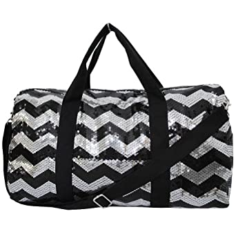 Adorable Sequin Chevron Pattern Large Duffle Bag (Black)
