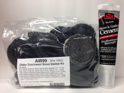 AW 99 Vermont Castings Dutchwest Stove Gasket Kit (pre-1993) Complete with adhesive GK-99 (Vermont Castings Kit compare prices)