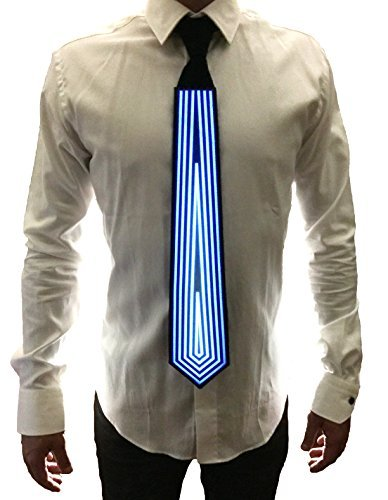 WDCS El Sound and Music Activated LED Light Flashing Party Toy Neckties For Rave EDM Clubbing and Halloween (Diamond Pattern)