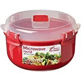 Sistema Round Microwave Steamer Container - 915 ml, Red/Clear