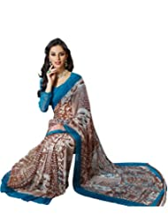 Prafful Gorgette Printed Saree With Unstitched Blouse - B00KNUIFOK