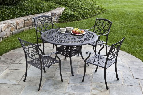 Buy Low Price Alfresco Home Dimante 48″ Round Cast Aluminum Dining Table w/ Umbrella Hole by Alfresco Home – Metal (55-7331-AI) (55-7331-AI)