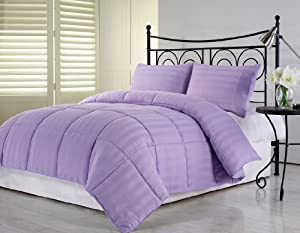 Chezmoi collection 3 piece hotel dobby stripe - Light purple comforter set ...