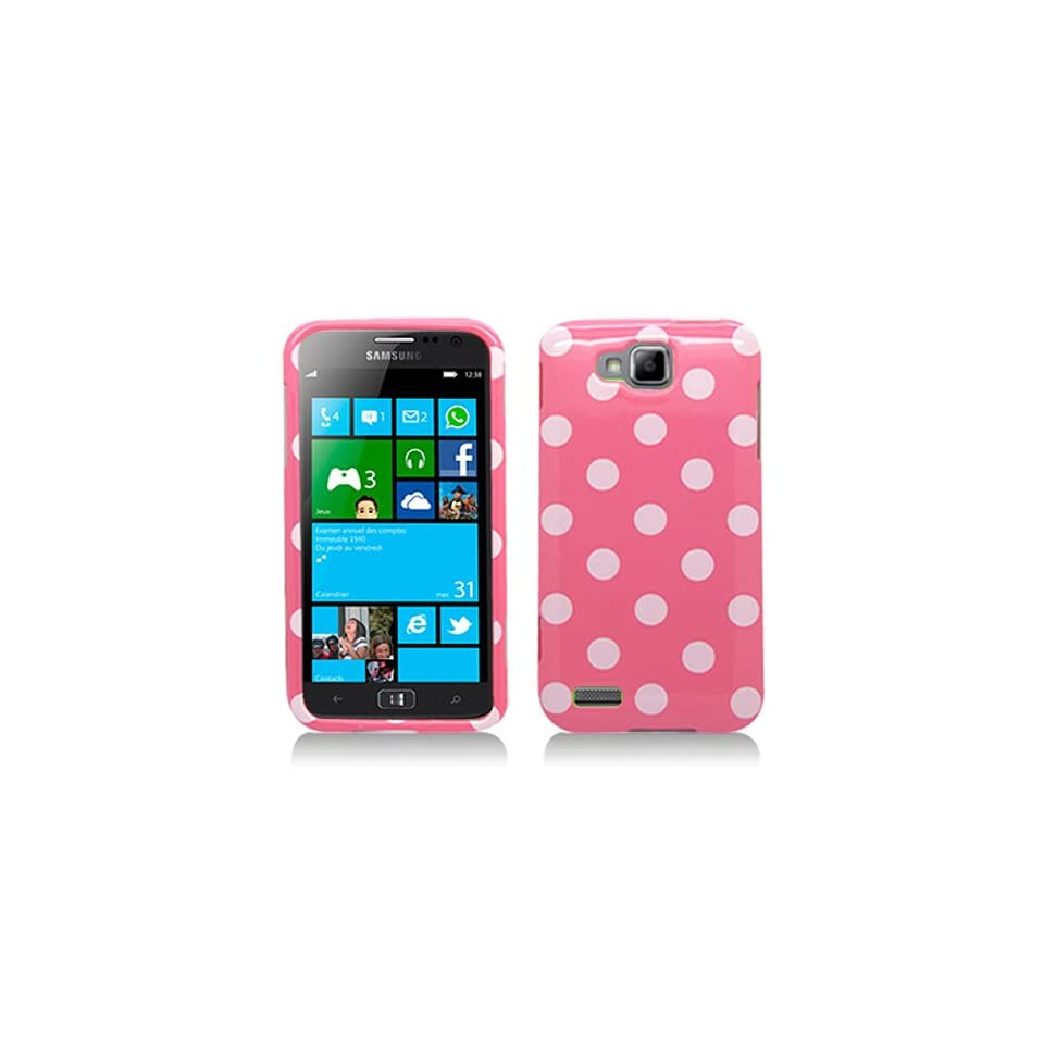 Pink White Polka Dot Hard Cover Case for Samsung ATIV S SGH T899 SGH T899M Cell Phones & Accessories
