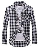 (デル レオーネ) del leone メンズ シンプル チェック 格子 長袖 シャツ 4カラー M L XL XXL (01:ブラック M)
