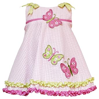 Size-4T RRE-43352S PINK GREEN EMBROIDERED BUTTERFLY BOW SHOULDER SEERSUCKER Spring Summer Girl Party Dress,S243352 Rare Editions TODDLERS