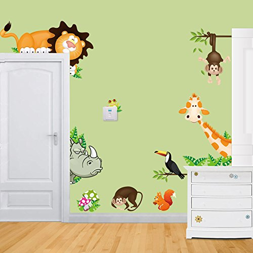 MLM Lovely Giraffe Monkey Rhinoceros Lion Zoo Zoological Ggarden Art Wall Stickers Decal for Nursery Home Decor Children Courtyard Baby Room (Zoo Wall Decals compare prices)