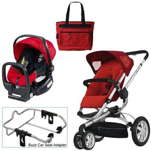 Quinny Rebel Red Buzz 3 Travel System with Britax Red Car Seat Diaper Bag