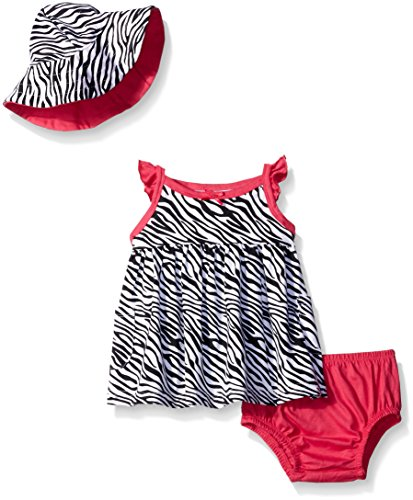 Gerber Baby Three-Piece Sundress, Diaper Cover and Hat Set, Zebra, 24 Months