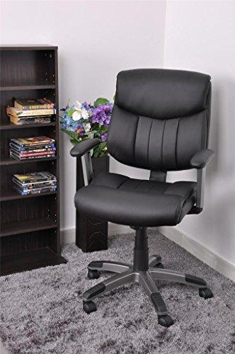 furniturer comfortable leather high back office computer desk chair in black cheap low desk chair. Black Bedroom Furniture Sets. Home Design Ideas
