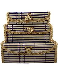 TRINITY Bamboo Set Of 3pcs Jewellery Box(519, Blue)
