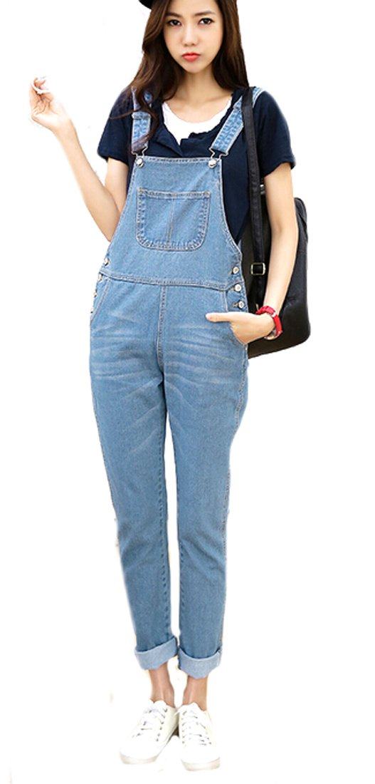 ASL Women's Vintage Pocket Cute Loose Jeans Suspender Trousers L Sky blue 0