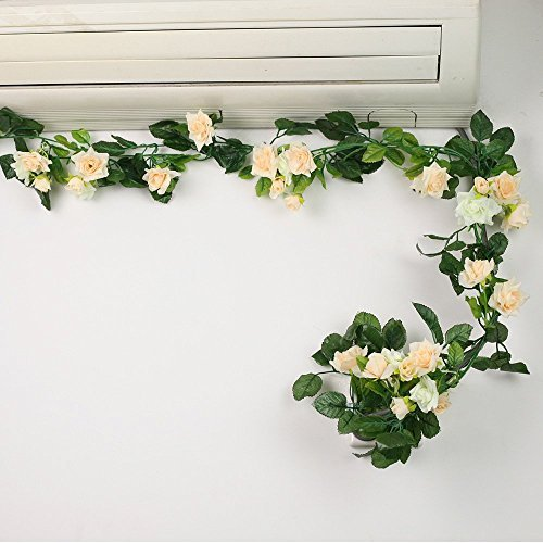 8ft Rose Garland Pack of 5 Artificial Flower Garland Silk Flower Vine Green Leaf Vine Garland Home Decor Wedding Garland Decoration (beiges)