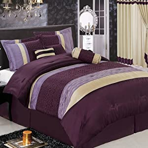 Amazon.com - SONATA 7-Piece Purple Luxury QUEEN Comforter Set ...